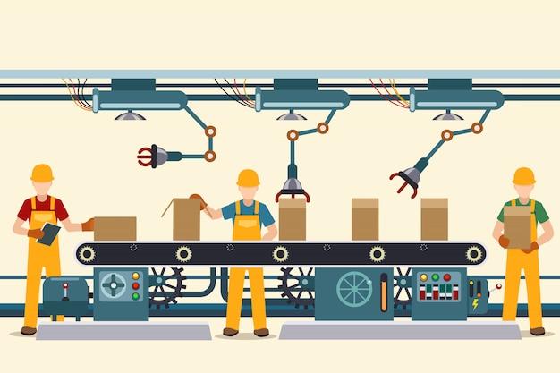 Convoyeur de production avec des personnes opérationnelles