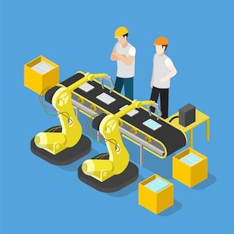 Convoyeur d'usine de production de l'industrie électronique de tablette smartphone isométrique plat