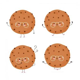 Cookie mignon mignon avec la collection de caractères de pépite de chocolat. isolé sur blanc conception de dessin vectoriel personnage illustration, style plat simple. cookie marcher, sauter, penser, méditer le concept