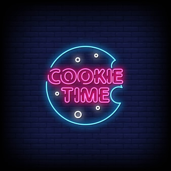 Cookie time neon signs style texte