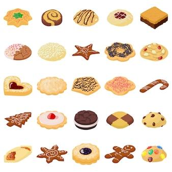 Cookies biscuit icons set. illustration isométrique des icônes vectorielles de 25 biscuits biscuits pour le web