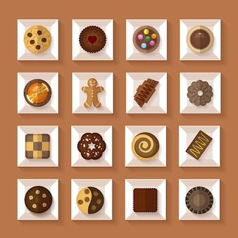 Cookies dans des boîtes dans un style plat avec ombre