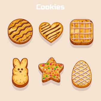 Cookies dans différentes formes définies