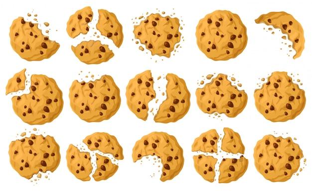 Cookies avec icône de jeu de dessin animé de miettes.