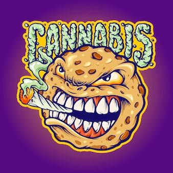 Cookies smoke cannabis mascot illustrations vectorielles pour votre travail logo, t-shirt de mascotte, autocollants et conceptions d'étiquettes, affiche, cartes de voeux, entreprise ou marques publicitaires.