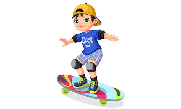 Cool boy on skateboard