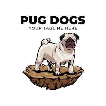 Cool carlin dog concept logo vector icône illustration isolé sur fond blanc
