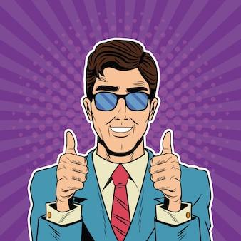 Cool dessin animé pop art homme d'affaires