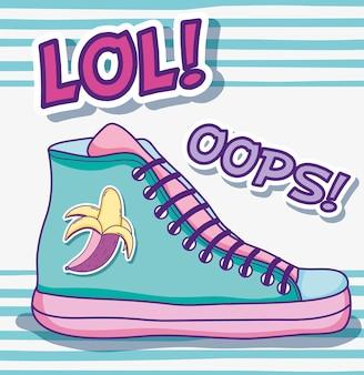 Cool dessins animés pop art de chaussure