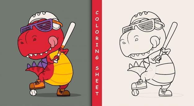 Cool dinosaure jouant au baseball. feuille de coloriage.