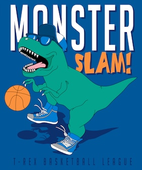 Cool dinosaure jouant au basketball