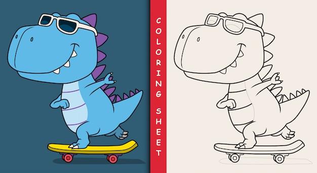 Cool dinosaure jouant à la planche à roulettes. feuille de coloriage.