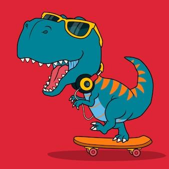 Cool dinosaure jouant à la planche à roulettes.