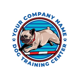 Cool dog training center concept logo vector icon illustration isolé sur fond blanc