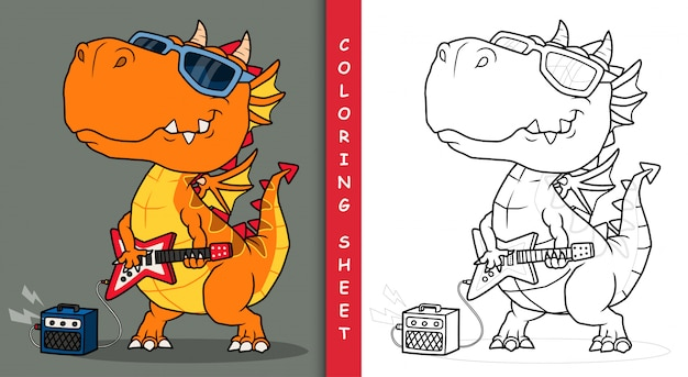 Cool dragon jouant de la guitare