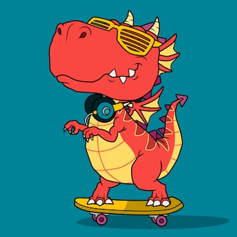 Cool dragon jouant à la planche à roulettes.