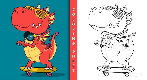 Cool dragon jouant à la planche à roulettes