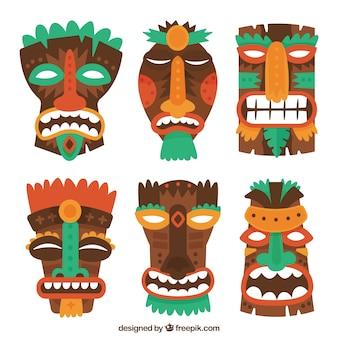 Cool ensemble de masques tiki en bois