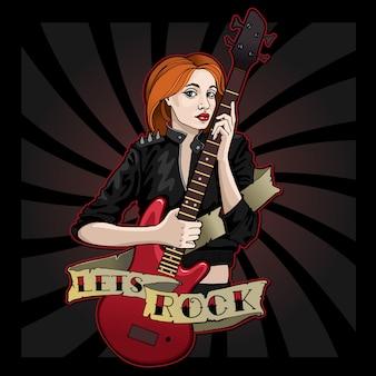 Cool girl avec une guitare rouge permet le rock!