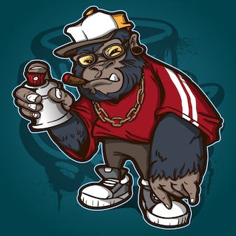 Cool gorilla graffiti charracter