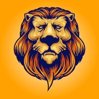 Cool head lion mascotte logo