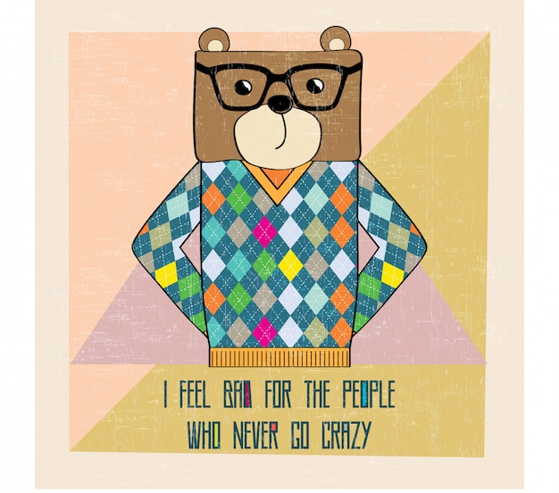Cool hipster d'ours