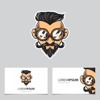 Cool man with eye glass logo
