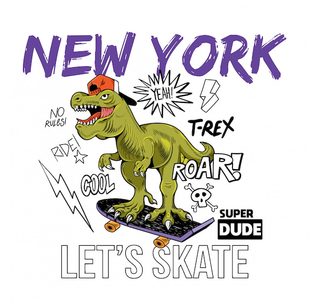 Cool mec t-rex tyrannosaurus rex dinosaure dinosaure à cheval sur la planche à roulettes new york. illustration de personnage de dessin animé fond blanc isolé pour la conception d'impression t-shirt tee vêtements autocollant affiche