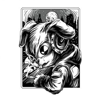 Cool rabbit remastered illustration en noir et blanc