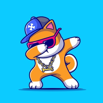 Cool shiba inu dog dabbing and wearing hat and glasses cartoon icon illustration.