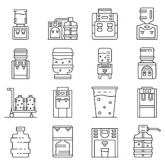 Cooler water icons set, style de contour
