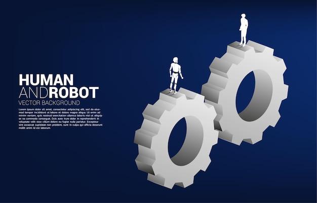Coopération de l'homme et du robot sur le système d'engrenage.