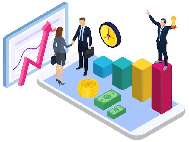 Coopération pour la croissance économique, concept isométrique de conception plate pour les pages de destination