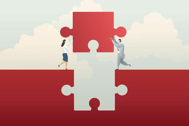 Coopération de travail d'équipe d'affaires tenant le puzzle de connexion de manière rouge