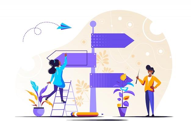 La coopération. travailler ensemble pour créer une idée. illustration ual
