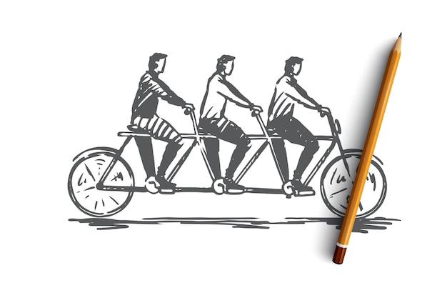 Coordination, coopération, travail d'équipe, vélo, concept tandem. main a dessiné trois personnes sur un croquis de concept de vélo.