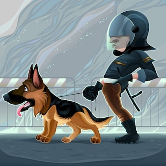 Cop avec un chien vector cartoon illustration