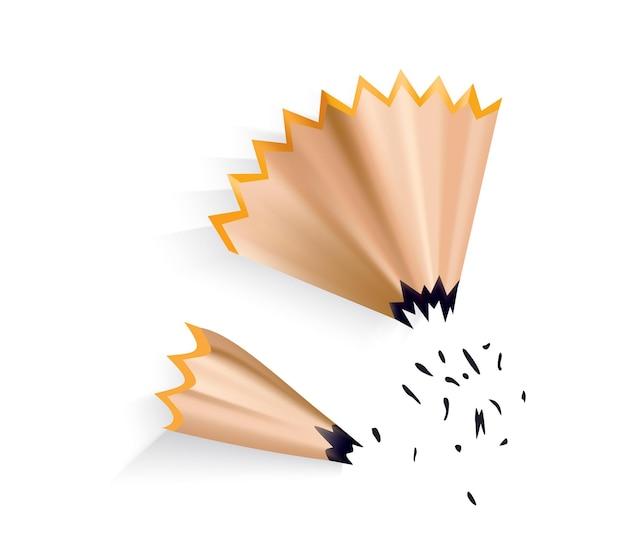 Copeaux de crayon avec tige de graphite. icône de dessin animé de couleur pour la conception web. conception réaliste d'élément isolé sur fond blanc, illustration vectorielle.