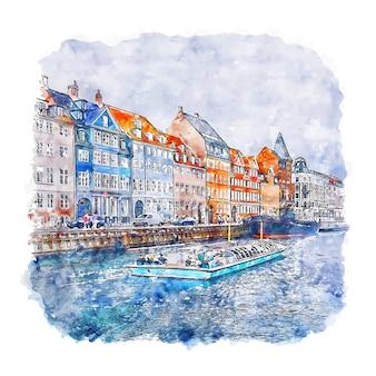 Copenhague danemark aquarelle croquis illustration dessinée à la main