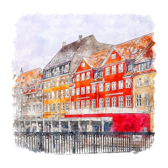 Copenhague danemark aquarelle croquis illustration dessinée à la main