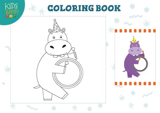 Copie et couleur de l'image, exercice. hippopotame drôle de bande dessinée avec tambour pour dessin et jeu de coloriage pour les enfants d'âge préscolaire