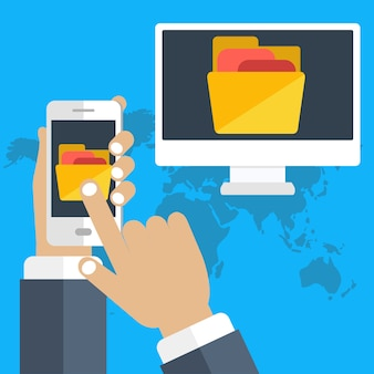 Copier des fichiers, échanger, concept de partage de fichiers