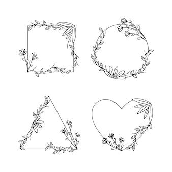Copiez la collection dessinée à la main de cadre floral espace