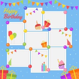 Copiez l'espace collection de cadres de collage d'anniversaire design plat