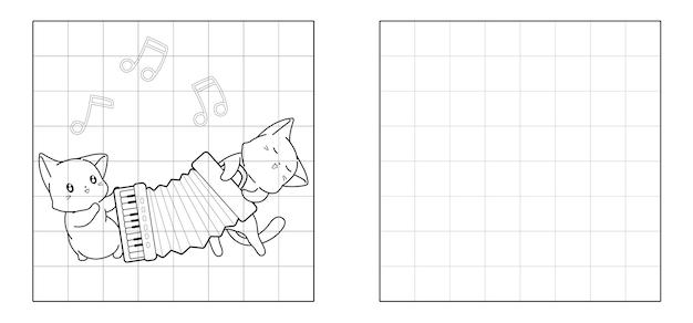 Copiez l'image de chats jouent au dessin animé d'accordéon