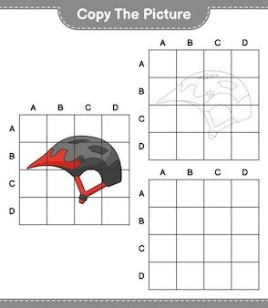 Copiez l'image copiez l'image du casque de vélo en utilisant des lignes de grille jeu éducatif pour enfants