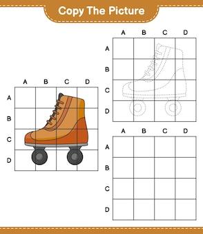 Copiez l'image copiez l'image du patin à roulettes en utilisant des lignes de grille jeu éducatif pour enfants