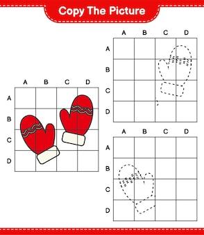 Copiez l'image, copiez l'image des mitaines en utilisant les lignes de la grille. jeu éducatif pour enfants, feuille de travail imprimable