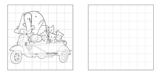 Copiez l'image du chat et de l'ours avec un dessin animé de moto