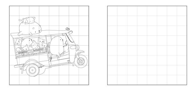 Copiez l'image du chat et de l'ours avec un dessin animé de tricycle